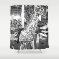 carousel Shower Curtains featuring Carousel by raven's_revelation_city_graphics