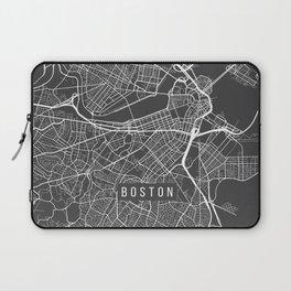 Boston Map, Massachusetts USA - Charcoal Portrait Laptop Sleeve