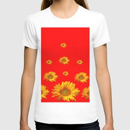FLOATING GOLDEN YELLOW SUNFLOWERS RED COLOR T-shirt