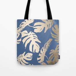 Simply Tropical Palm Leaves White Gold Sands on Aegean Blue Tote Bag