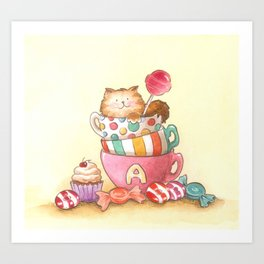 Cups, candy and a cat Art Print
