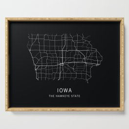 Iowa State Road Map Serving Tray