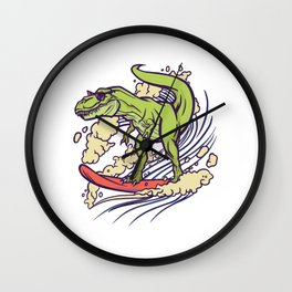 Surfing TRex with sunglasses Wall Clock