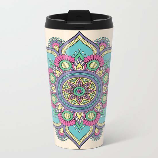 Colorful Abstract Floral Mandala Metal Travel Mug