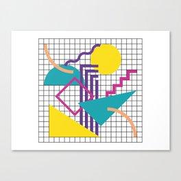 Memphis Pattern - 80s Retro White Canvas Print