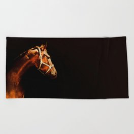 Horse Wall Art, Horse Portrait Over a Black background, Horse Photography, Closeup Horse Head Beach Towel