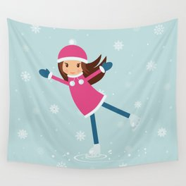 Little girl on skating rink Wall Tapestry
