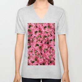 Pink Rose Floral Pattern Unisex V-Neck