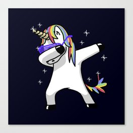 Dabbing Unicorn Shirt Dab Hip Hop Funny Magic Canvas Print