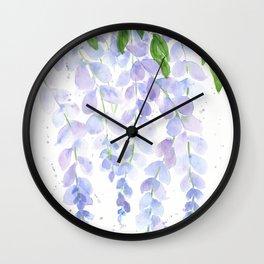 Wisteria Watercolor Print, Floral Watercolor by Liz Ligeti Kepler Wall Clock