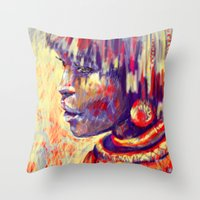 african Throw Pillows featuring African portrait by Marta Zawadzka