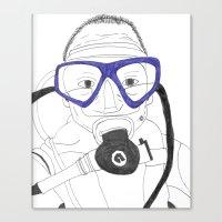 scuba Canvas Prints featuring Scuba by Margaret Rose