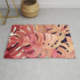 Monstera Love in Magenta and Coral - oil painting Rug