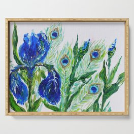 Blue iris and peacock Serving Tray