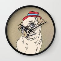 pug Wall Clocks featuring Pug by Madmi