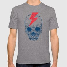 Skull Bolt MEDIUM Tri-Grey Mens Fitted Tee
