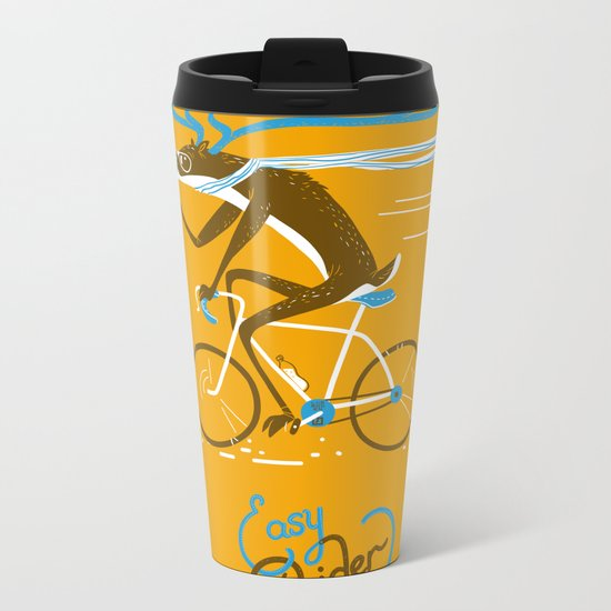 Easy Rider // (cycling hipster deer) Metal Travel Mug