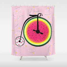 Vintage Bicycle Fruits Wheels Design Shower Curtain