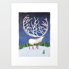 Peaceful Reindeer Art Print