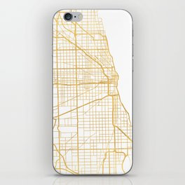CHICAGO ILLINOIS CITY STREET MAP ART iPhone Skin