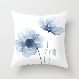 Blue Watercolor Poppies Throw Pillow