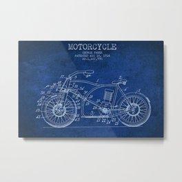1914 George Pamer Motorcycle Patent Blueprint Metal Print