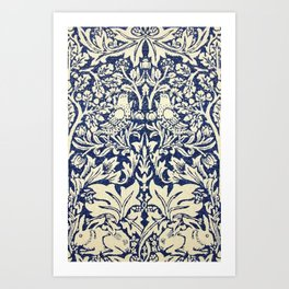 Brother Rabbit - Sand on Navy, William Morris Art Print