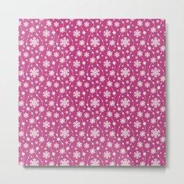 Festive Pink and White Snowflake Pattern Metal Print