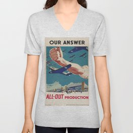 Vintage poster - All-Out Production Unisex V-Neck