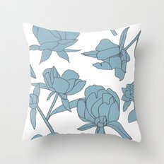 Roses in Blue Throw Pillow
