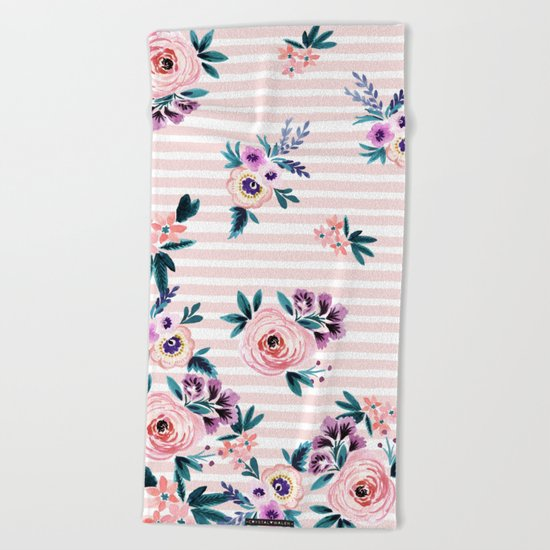 Victoria Blushing Stripe Beach Towel