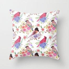 Cute wild birds of North Carolina Throw Pillow