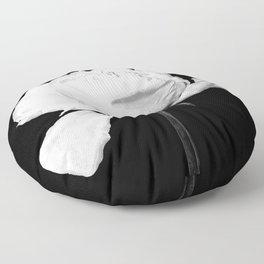 White Peony Black Background Floor Pillow