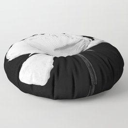 White Peony Black Background Floor Pillow