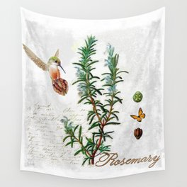 Cottage Style Rosemary, Hummingbird, Butterfly, Herbal Botanical Illustration Wall Tapestry