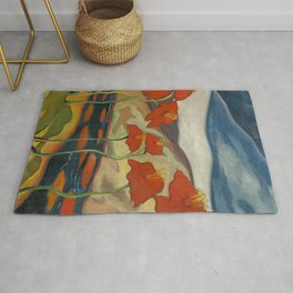Spring Mountain Snows with Red Poppies & Calla Lilies by Blue River landscape by Zolote Palugyay Rug