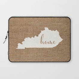 Kentucky is Home - White on Burlap Laptop Sleeve