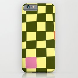 Green and Pink Imperfect Checkerboard iPhone Case