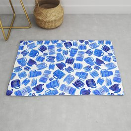 Blue Teacups and Mugs Rug