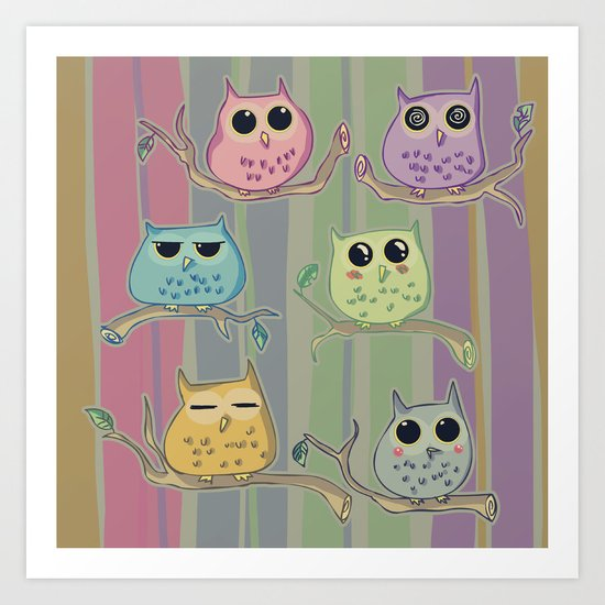 Little and cute owls Art Print