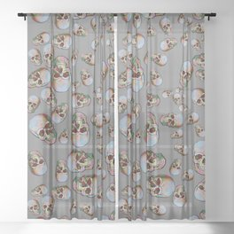 Happy Skulls Random Pattern (Gray) Sheer Curtain