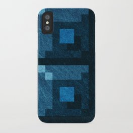 Blue Green Pixel Blocks iPhone Case