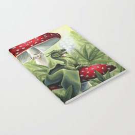 Smoking Dragon in Cannabis Leaves Notebook