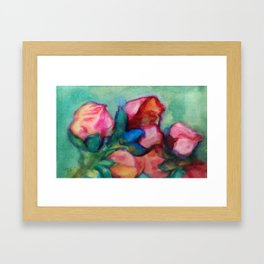 bloom red green Framed Art Print
