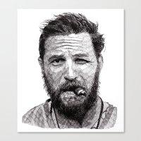 tom selleck Canvas Prints featuring Tom by Rik Reimert