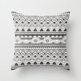 CRYSTAL AZTEC B/W  Throw Pillow