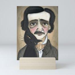 Edgar Allan Poe and the Black Cat Mini Art Print