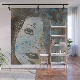 Lack Of Interest: (graffiti dark lady with daisies) Wall Mural