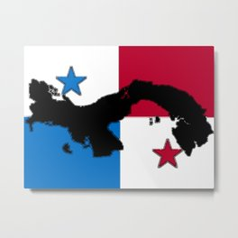 Panama Map with Panamanian Flag Metal Print