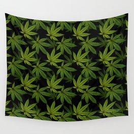 Cannabis Leaf - Black Wall Tapestry